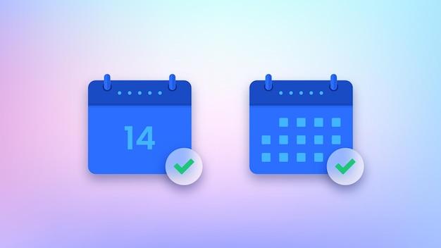 Set of blue calendar icons