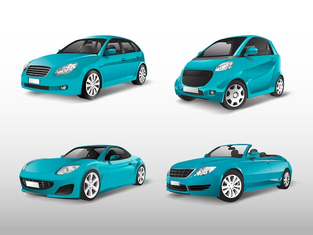 Set of blue car vectors