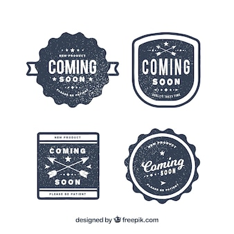 Set of blue coming soon stamps in retro style