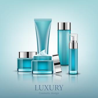 Set blue cosmetic bottles packaging mock up