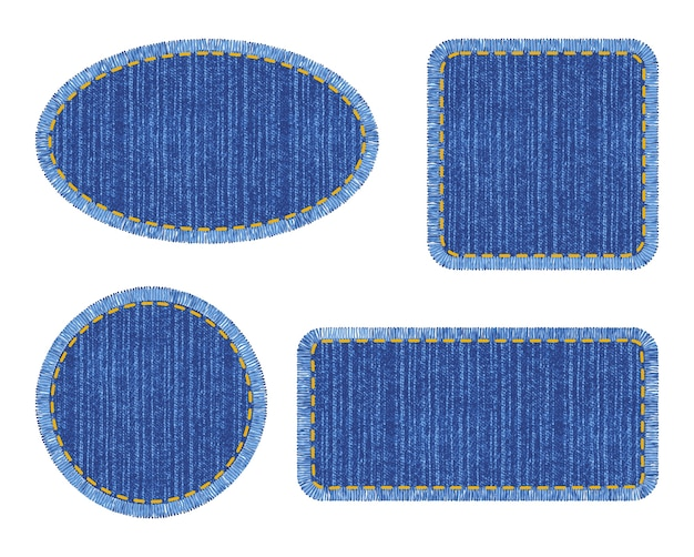 Set of blue denim patches with stitch. different shapes with place for your text isolated.
