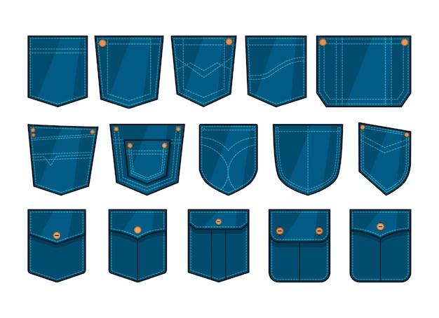 Set of blue denim pockets patches