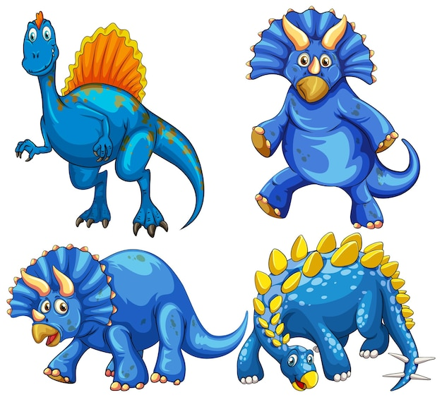 Set of blue dinosaur cartoon character