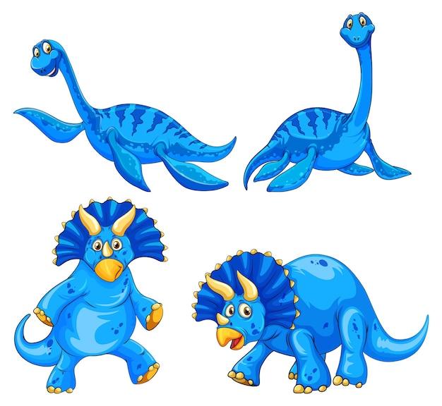 Set di personaggi dei cartoni animati di dinosauro blu