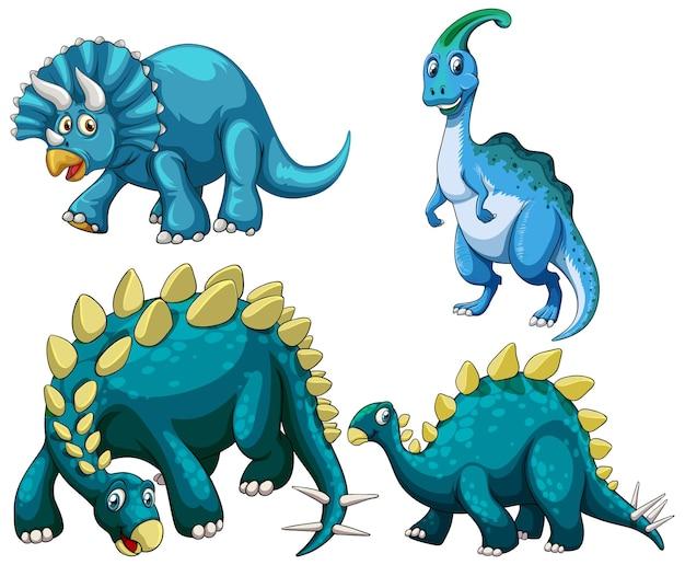 Set of blue dinosaur cartoon character