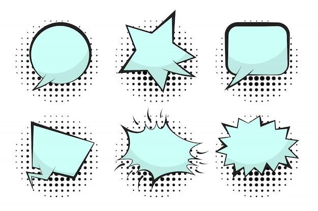 Set of blue empty retro comic speech bubbles