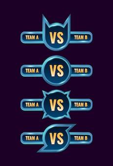 Set of blue fantasy vs medal badge frame
