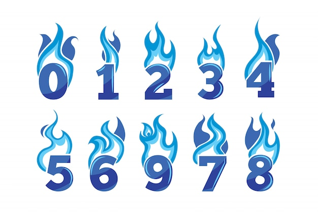 Set of blue flaming numbers