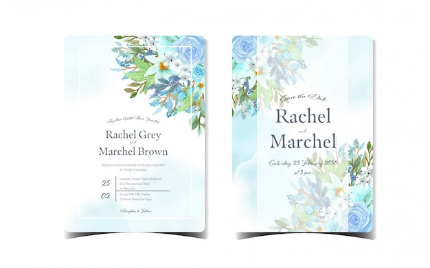 Set of blue floral wedding invitation with beautiful flowers