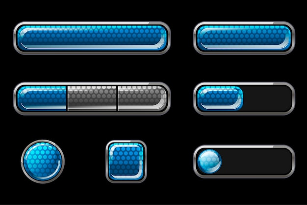 Set of blue glossy buttons for user interface.
