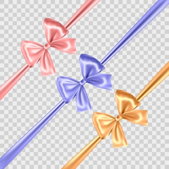 Set of blue, gold and pink bows isolated