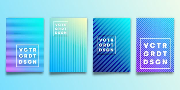 Set of blue gradient backgrounds with lines