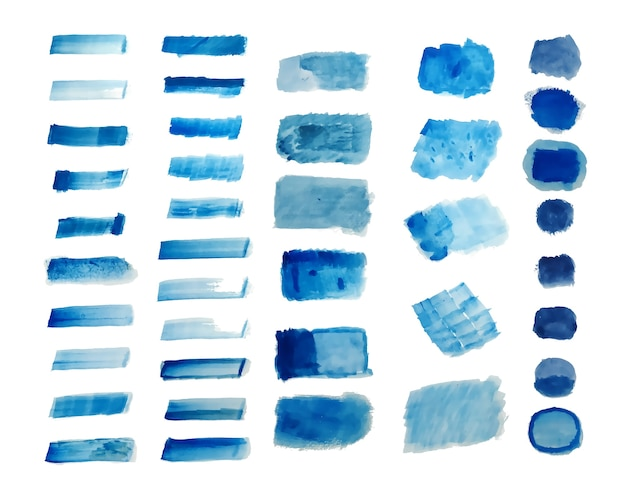 Set of blue hand painted watercolor textures background