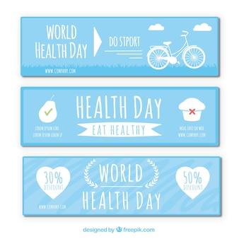 Insieme delle bandiere blu giorno mondiale della sanità