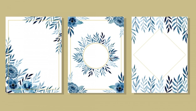 Set blue invitation card with watercolor floral