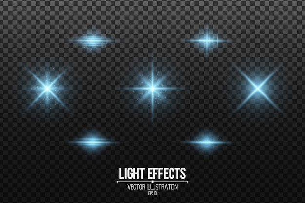 Set of blue light effects isolated. shining stars and glowing dust. glittering elements.