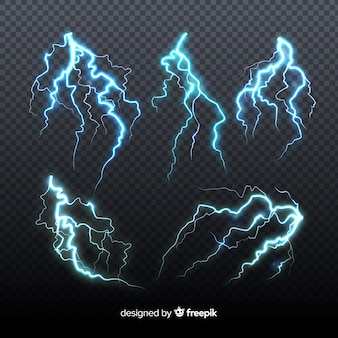 Set of blue lightning on transparent background