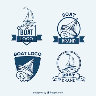 Set of blue logos with boats