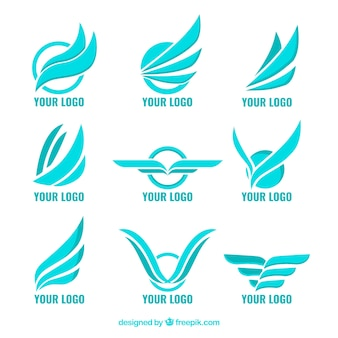 Set of blue logos with wings