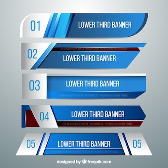 Set of blue modern lower thirds