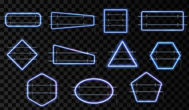 Set of blue neon frames light border line background glow template 3d border bulb