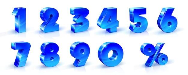 Set of blue numbers