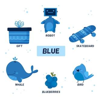 Insieme di oggetti blu e parole del vocabolario in inglese