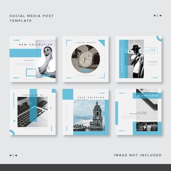 Set of blue ocean social media post template