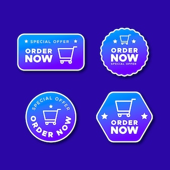 Set of blue order now sticker