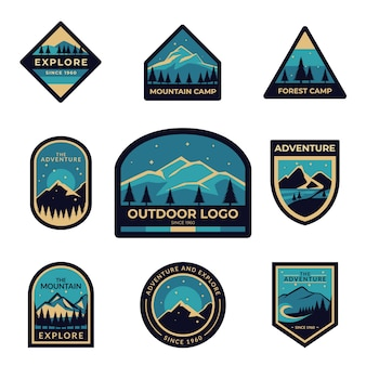 Set of blue outdoor adventure logo badges for scout, explorer, and mountaineer.