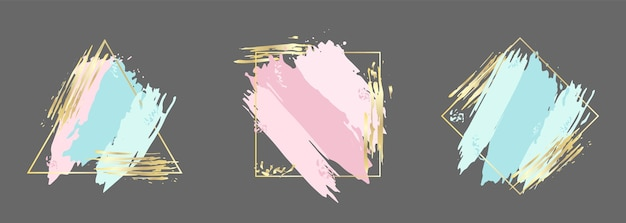 Set of blue pink and gold brush strokes in frame design template for banner card cover flyer