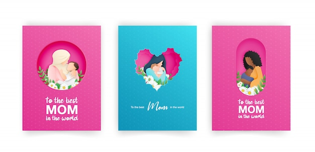 Set of blue and pink greeting cards for mothers day.