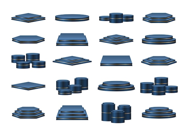 Set of blue podiums. realistic podium or platform for award ceremony and product presentation.