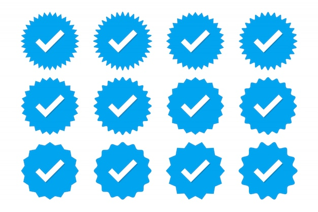 Set of blue profile verification icons. badges of warranty, approval, accept and quality