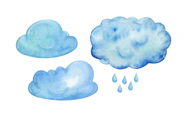 Set of blue rainy clouds and rain hand painted in watercolor, isolated on white background