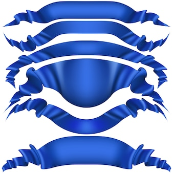 Set of blue ribbon banners on white background.