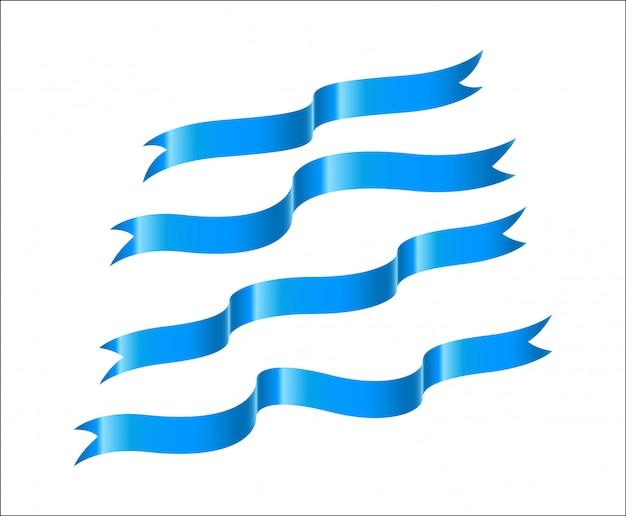 Set of blue ribbon