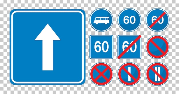 Set of blue road signs isolated on transparent background
