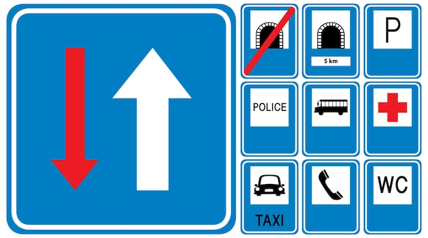 Set of blue road signs isolated on white background