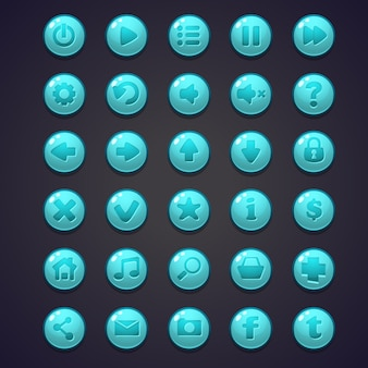 Set of blue round buttons for the user interface of computer games and web design
