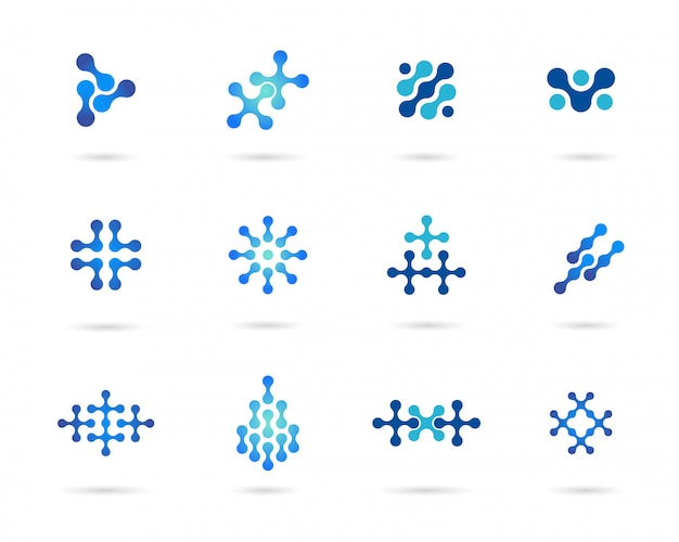 Set of blue science symbol vector