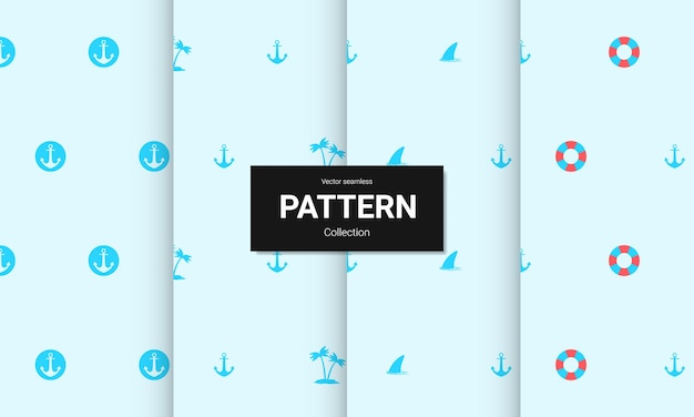 Set of  blue seamless patterns. vector seamless nautical textures.