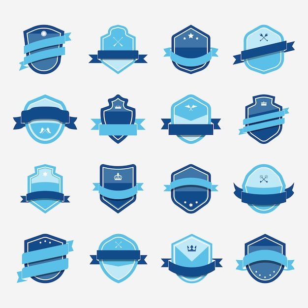 Set of blue shield icon embellished with banner vectors
