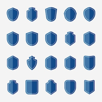Set of blue shield icon vectors