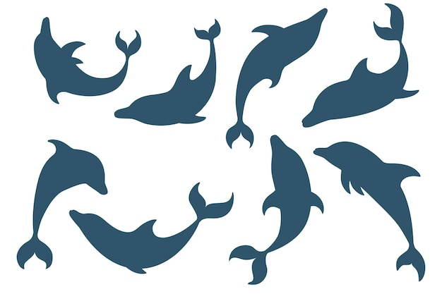 Set of blue silhouette dolphin cartoon sea animal design flat vector illustration isolated on white background.