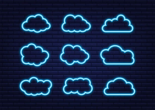 Set of blue sky, clouds. cloud icon, cloud shape. neon icon. set of different clouds. collection of cloud icon. vector illustration.