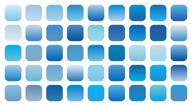 Insieme di combinazioni di sfumature di sfumature di cielo blu