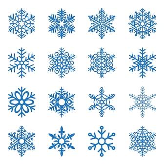 Set of blue snowflake isolated on white