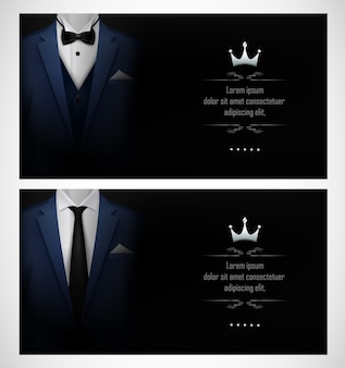 Set of blue tuxedo business card templates