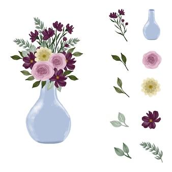 수채화 꽃 꽃다발 꽃과 푸른 꽃병을 설정